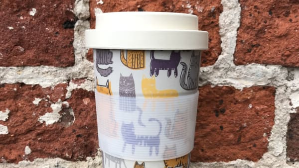 Bamboo Reusable Cup - Cats